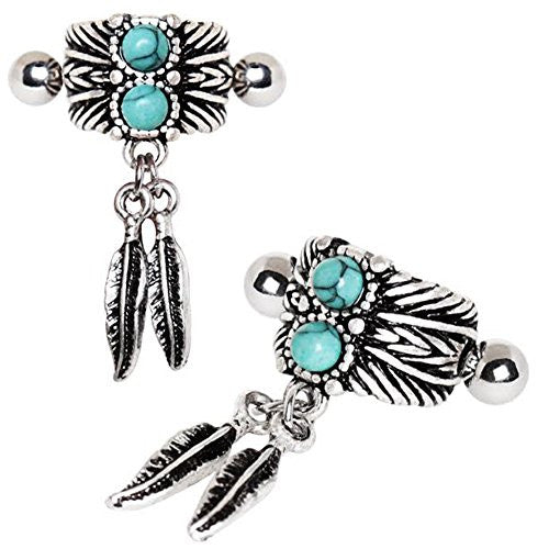 316L Stainless Steel Turquoise & Feather WildKlass Cartilage Cuff Earring-WildKlass Jewelry
