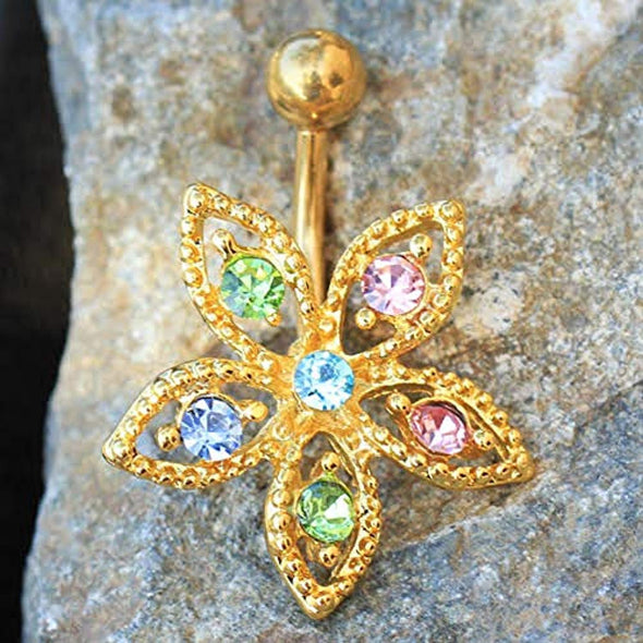 Gold Plated Fancy Multi-Jeweled Flower WildKlass Navel Ring-WildKlass Jewelry