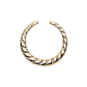 Golden Rope Textured WildKlass Septum Retainer Ring-WildKlass Jewelry