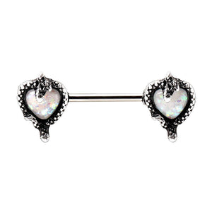 WILDKLASS 316L Stainless Steel Synthetic Opal Heart with Snake Nipple Bar