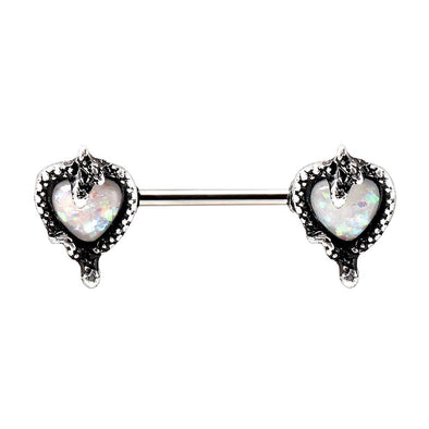 WILDKLASS 316L Stainless Steel Synthetic Opal Heart with Snake Nipple Bar-WildKlass Jewelry