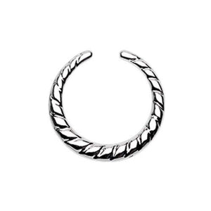 Rope Textured WildKlass Septum Retainer Ring-WildKlass Jewelry