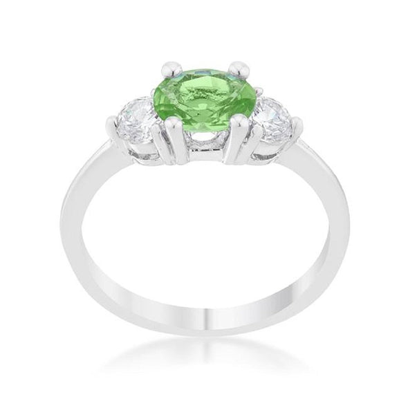 WildKlass 1.2ct Peridot CZ Rhodium Plated Classic Oval Ring-WildKlass Jewelry