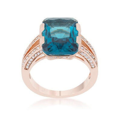 WildKlass 8.6ct Aqua CZ Rose Gold Emerald Classic Cocktail Ring-WildKlass Jewelry