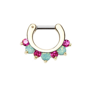 Golden Prong Pacific Opal Gem Precia WildKlass Septum Clicker-WildKlass Jewelry