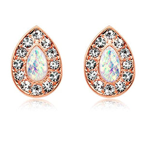 Rose Gold Opal Avice WildKlass Ear Stud Earrings-WildKlass Jewelry