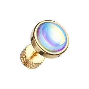 Golden Illuminating Moonstone Steel WildKlass Fake Plug-WildKlass Jewelry