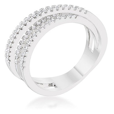 WildKlass 0.25ct CZ Rhodium Plated Twisted Trio Band Ring-WildKlass Jewelry