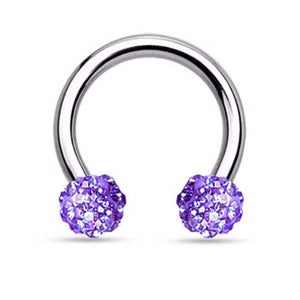 Crystal Paved Ferido Balls 316L Surgical Steel WildKlass Circular Barbell Horseshoe-WildKlass Jewelry