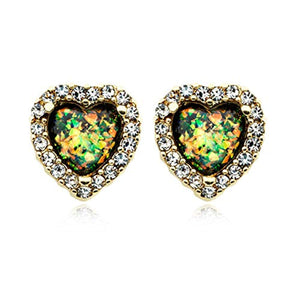 Golden Beloved Heart Opal WildKlass Ear Stud Earrings-WildKlass Jewelry