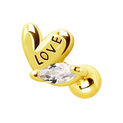WILDKLASS Gold Plated Lovely Heart Cartilage Earring-WildKlass Jewelry