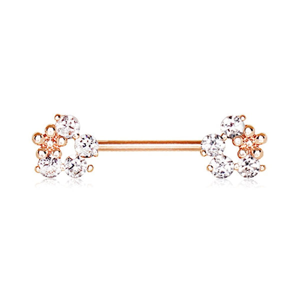 Rose Gold Plated Flower Fields WildKlass Nipple Bar-WildKlass Jewelry