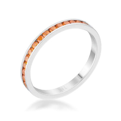 WildKlass 0.5ct Orange CZ Stainless Steel Eternity Band-WildKlass Jewelry