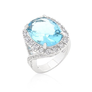 WildKlass Oval Blue Topaz Cocktail Ring-WildKlass Jewelry
