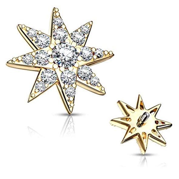 WildKlass CZ Paved Starburst Internally Threaded Dermal Tops-WildKlass Jewelry
