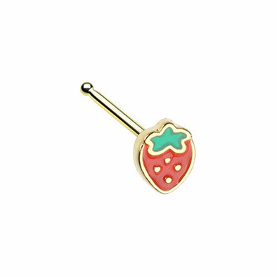 Golden, Silver Leafy Strawberry L-Shape, Stud Nose Ring-WildKlass Jewelry