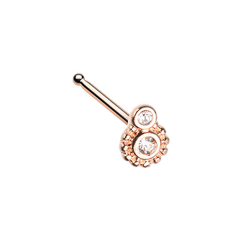 Golden & Rose Gold Steampunk Gear L-Shape Nose Ring-WildKlass Jewelry
