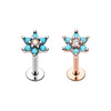 Rose Gold, Silver Turquoise Spring Flower Sparkle Top Steel Labret-WildKlass Jewelry