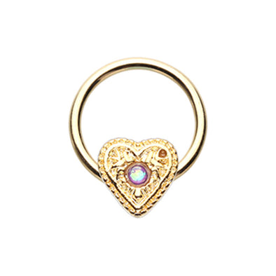 Gold & Silver Ornate Opal Heart Steel Captive Bead Ring-WildKlass Jewelry