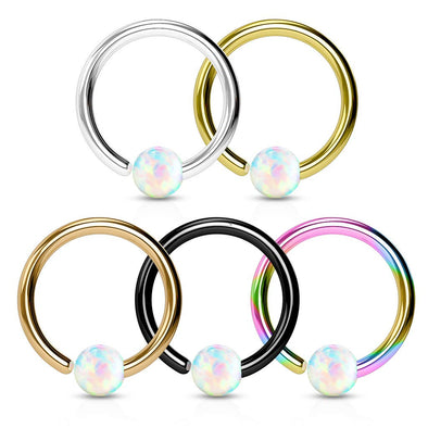 WILDKLASS 5 Pcs Value Pack Opal Ball Fixed Hoop Ring for Nose or Ear-WildKlass Jewelry