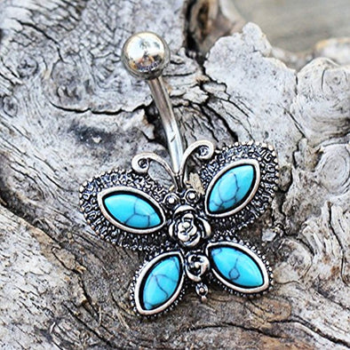 316L Stainless Steel Antique Turquoise Butterfly WildKlass Navel Ring-WildKlass Jewelry