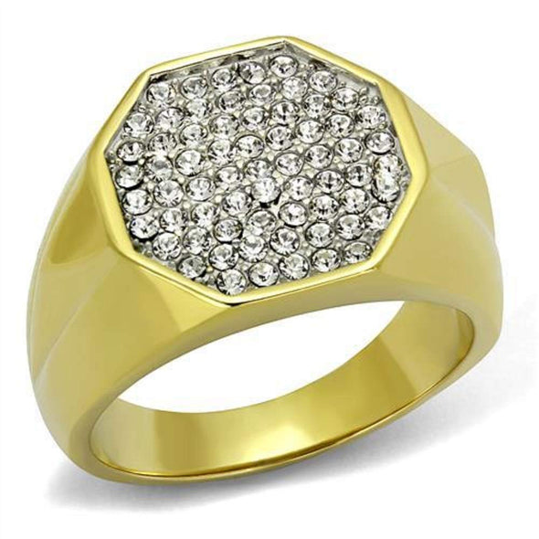 WildKlass Stainless Steel Ring Two-Tone IP Gold Men Top Grade Crystal Clear-WildKlass Jewelry