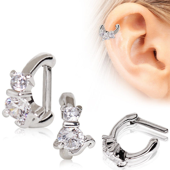 316L Stainless Steel Jeweled Cat WildKlass Cartilage Clicker Earring-WildKlass Jewelry