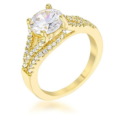 WildKlass 2.3ct CZ 14k Gold Plated Classic Ring-WildKlass Jewelry