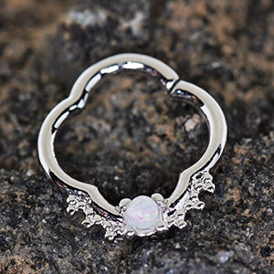 316L Stainless Steel Jeweled Quatrefoil WildKlass Captive Bead Ring/Septum Ring-WildKlass Jewelry
