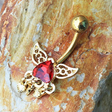 Gold Plated Reverse Winged Heart Navel Ring-WildKlass Jewelry
