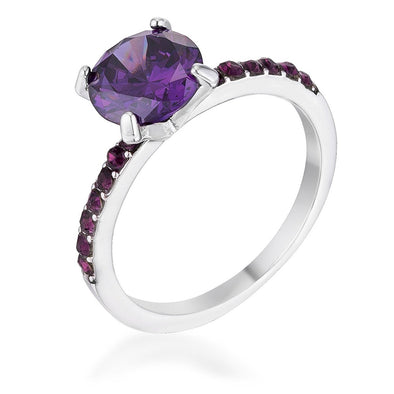 WildKlass 2.3CT Amethyst CZ Rhodium Plated Ring-WildKlass Jewelry