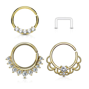WILDKLASS 3 Pcs Value Pack Assorted Half Circle Bendable Nose Septum and Ear Cartilage Hoops with Free Clear Retainer-WildKlass Jewelry