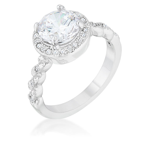 WildKlass 2.2ct Clear CZ Rhodium Plated Classic Ring-WildKlass Jewelry