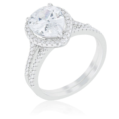 WildKlass Halo Solitaire Pear Engagement Ring-WildKlass Jewelry