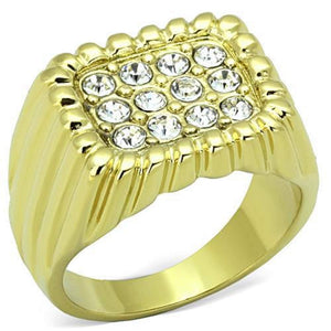 WildKlass Stainless Steel Ring IP Gold(Ion Plating) Men Top Grade Crystal Clear