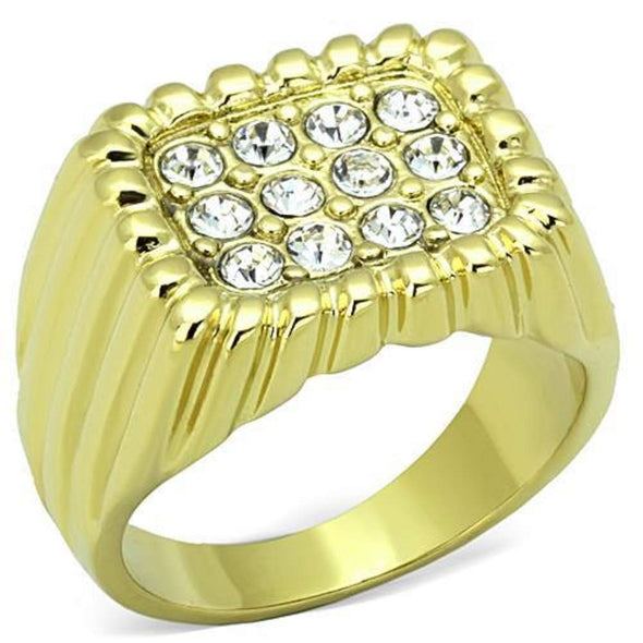 WildKlass Stainless Steel Ring IP Gold Men Top Grade Crystal Clear-WildKlass Jewelry