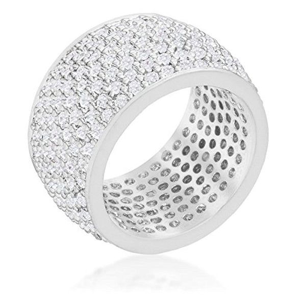 WildKlass Wide Pave Cubic Zirconia Silvertone Band Ring-WildKlass Jewelry