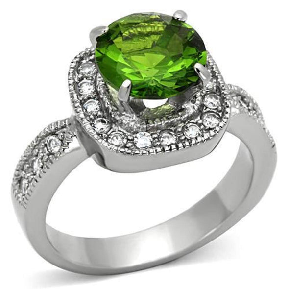 WildKlass Stainless Steel Halo Ring High Polished (no Plating) Women Synthetic Peridot-WildKlass Jewelry