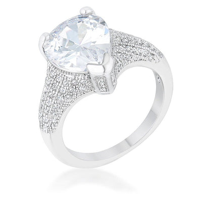 WildKlass 5.8ct CZ Rhodium Plated Pear Cocktail Ring-WildKlass Jewelry