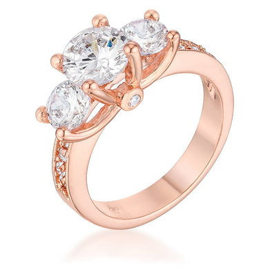 WildKlass Dazzling Three Stone Engagement Ring with CZ-WildKlass Jewelry