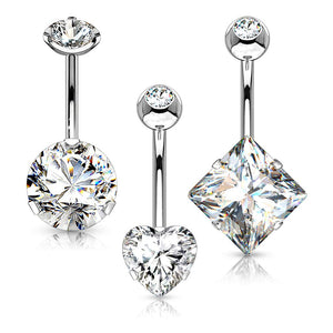 WILDKLASS 3 Pcs 316L Surgical Steel Belly Navel Ring Gem Box Package-WildKlass Jewelry