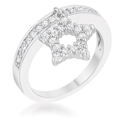 WildKlass Star 0.25ct CZ Rhodium Plated Simple Holiday Charm Band Ring-WildKlass Jewelry