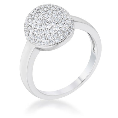 WildKlass 0.6ct CZ Rhodium Plated Contemporary Sphere Ring-WildKlass Jewelry