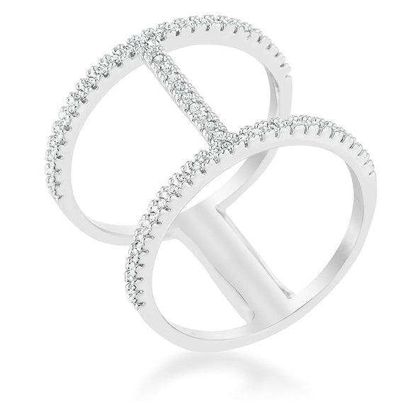 WildKlass 0.3ct CZ Rhodium Plated Open Contemporary Wide Ring-WildKlass Jewelry
