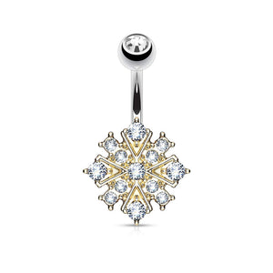Gem Paved Starburst 316L Surgical Steel WildKlass Belly Button Navel Rings-WildKlass Jewelry