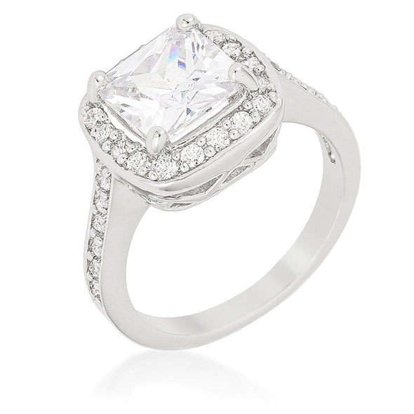 WildKlass Halo Style Cushion Cut Engagement Ring-WildKlass Jewelry