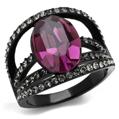 WildKlass Stainless Steel Ring IP Women Top Grade Crystal Amethyst-WildKlass Jewelry