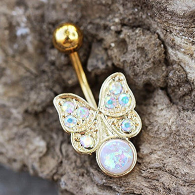 Gold Plated Aurora Butterfly with Synthetic Opal WildKlass Navel Ring-WildKlass Jewelry