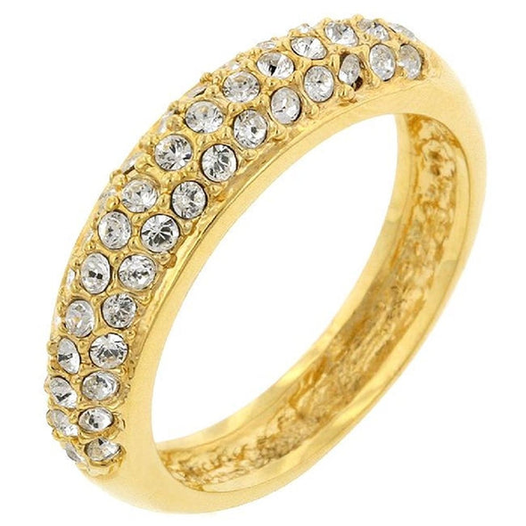 WildKlass Pave Crystal Gold ToneBand-WildKlass Jewelry