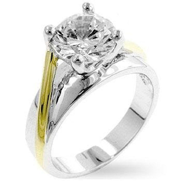 WildKlass Two-tone Finish Solitaire Engagement Ring-WildKlass Jewelry